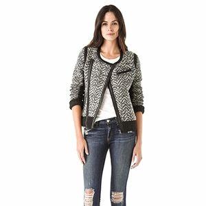 Rag & Bone Samantha Leather Wool Tweed Woven Moto Biker Jacket Size Small